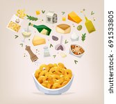 cooking process of preparing... | Shutterstock .eps vector #691533805