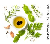 selectionof herbs and spices ... | Shutterstock . vector #691536466