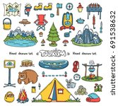 vector set with hand drawn... | Shutterstock .eps vector #691538632
