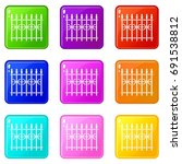 Park Fence Icons Of 9 Color Se...