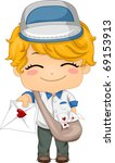 Illustration of a Mailman Handing Out a Love Letter - stock vector