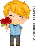 Illustration of a Boy Presenting a Flower - stock vector