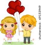 Illustration of a Boy Giving a Girl a Bunch of Balloons - stock vector