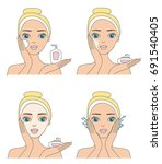 girl cleaning and care her face. | Shutterstock . vector #691540405