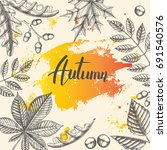 vintage autumn poster with hand ... | Shutterstock .eps vector #691540576