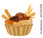 basket filled with baked goods... | Shutterstock .eps vector #691541506