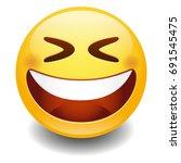emoji laugh smiley face vector...   Shutterstock .eps vector #691545475