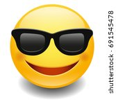 emoji sunglasses smiley. face... | Shutterstock .eps vector #691545478