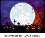 Halloween Theme With Big Moon...