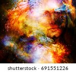 goddess woman in cosmic space.... | Shutterstock . vector #691551226