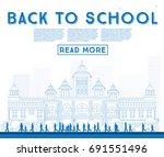 outline back to school. banner... | Shutterstock .eps vector #691551496