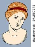 bust of the greek goddess  | Shutterstock .eps vector #691557376