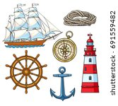 set of cartoon nautical...   Shutterstock .eps vector #691559482