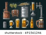 beer set with tap  glass  can ... | Shutterstock .eps vector #691561246