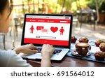 red heart online dating find... | Shutterstock . vector #691564012