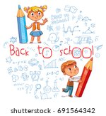 children write on the wall with ... | Shutterstock .eps vector #691564342