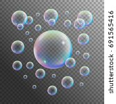 realistic soap bubble isolated... | Shutterstock .eps vector #691565416