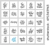 set of 25 hand lettering... | Shutterstock .eps vector #691565965
