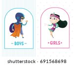 tablets of boys and girls. | Shutterstock .eps vector #691568698