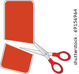 scissors cutting red price tag  ... | Shutterstock .eps vector #69156964