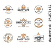 bakery logo set consisting of... | Shutterstock . vector #691575652