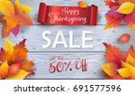 happy thanksgiving holiday sale.... | Shutterstock .eps vector #691577596