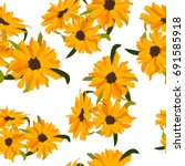 seamless pattern with sunflowers | Shutterstock .eps vector #691585918