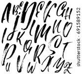 hand drawn dry brush font.... | Shutterstock .eps vector #691589152