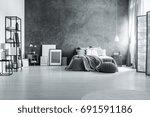 spacious loft bedroom with... | Shutterstock . vector #691591186