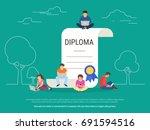 graduation diploma concept... | Shutterstock .eps vector #691594516
