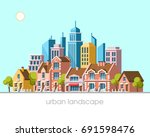 modern city view. traditional... | Shutterstock .eps vector #691598476