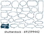 speech bubble doodles set.... | Shutterstock .eps vector #691599442