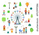 people and children in the... | Shutterstock .eps vector #691599586