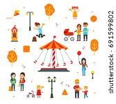 people and children in the... | Shutterstock .eps vector #691599802