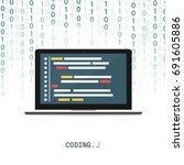 programmer coding binary...   Shutterstock .eps vector #691605886