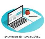 isometric laptop job search... | Shutterstock .eps vector #691606462