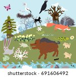 summer glade in the forest with ... | Shutterstock .eps vector #691606492