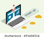 isometric rocket fast start up... | Shutterstock .eps vector #691606516