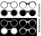set silhouettes round glasses... | Shutterstock .eps vector #691606696