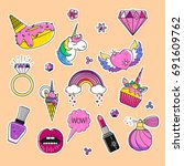 vector set of fashion patches ... | Shutterstock .eps vector #691609762