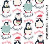 seamless pattern with cute... | Shutterstock .eps vector #691609915