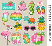 set of girl fashion patches ... | Shutterstock .eps vector #691614118