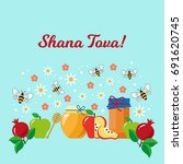 hebrew new year greeting card.... | Shutterstock .eps vector #691620745