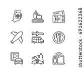 outline icons about airport.   Shutterstock .eps vector #691622368