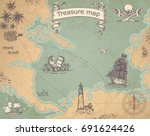 vintage vector pirate map with... | Shutterstock .eps vector #691624426