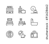 outline icons about hotel. | Shutterstock .eps vector #691628662