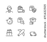 outline icons about transport... | Shutterstock .eps vector #691632505