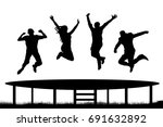 people jumping trampoline... | Shutterstock .eps vector #691632892