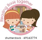 reading book together | Shutterstock .eps vector #69163774