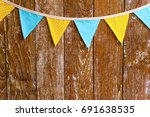 triangular yellow and blue flag ... | Shutterstock . vector #691638535